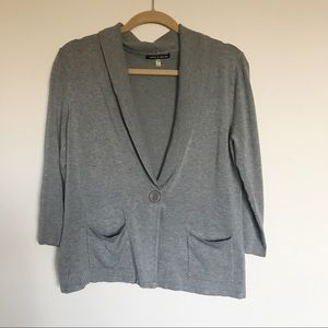 Cable & Gauge Gray Single Button Front Cardigan M